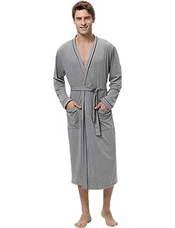 Weich und Bequem Nachtw/äsche Kimono Saunamantel Herren Pyjama mit 2 Taschen und G/ürtel Leichter Morgenmantel Herren f/ür Sommer Sykooria Bademantel Herren Baumwolle