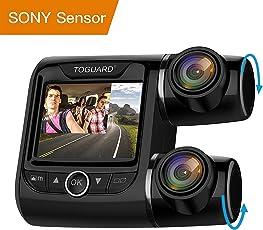TOGUARD Dual Dashcam Full HD 1080P Autokamera Video Recorder mit 340° Weitwinkelobjektiv, 2 Zoll LCD-Bildschirm, WDR, Bewegungserkennung, Parkmonitor, Loop-Aufnahme, Nachtsicht und G-Sensor