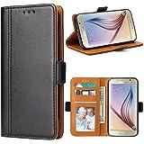 Bozon Coque Galaxy S6, Housse pour Samsung Galaxy S6 en Cuir Portefeuille Etui avec Fentes de Cartes, Fonction Support, Fermeture Magnétique (Noir)
