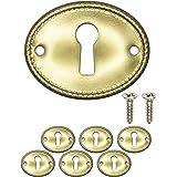 FUXXER® - 6x antieke sleutelbordjes, slotrozetten, slotbeslag, afdekking voor sloten, sleutelgat, vintage messing design, set