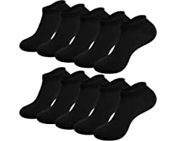 TANSTC Ankle Socks for Men Women 10/12 pairs Trainer Socks Breathable Sports Low Cut Socks Running Socks for Casual and Athle