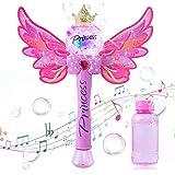 Ulikey Maquina Burbujas para Niños, Portátil Máquina de Burbujas Varita Hadas con Música y Luz, Soplador de Pompas Jabon Bubb