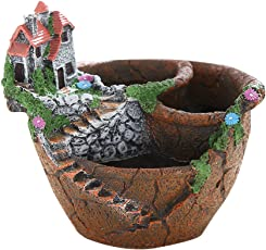 BESTONZON Fairy Garden Miniature Broken Flower Pot Villa Sweet House on The Cliff Sky Castle Sculpture Planter