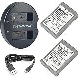 BLS-5 Newmowa ersättningsbatteri (2-pack) och dubbla laddarsats för Olympus BLS-5, BLS-50, PS-BLS5 och Olympus OM-D E-M10, PE