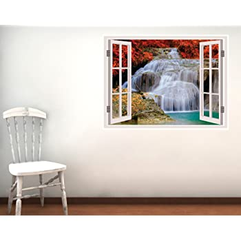 Impression PVC Vinyl Waterfall Illusion Wall Sticker Size : 46 x 60 cm