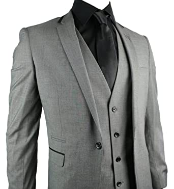 Mens Slim Fit Suit Grey 3 Piece 1 Button Black Trim Work Party ...