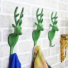 Casa D??cor 8x2x2.5-inch Antique Green Aluminum Animal Shaped Wall Hook
