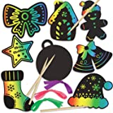 FINGOOO 48 pieces Christmas Scratch Art Cards, Hanging Decorations Christmas Crafts doodle game For Kids