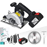 21V Cordless Circular Saw 6500RPM 20.0Ah Battery Fast Charger 45 Degree Adjustable Bevel Cutting with 110mm 30T Blades Circul