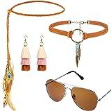Hippie/Bohemia Costume Set Pace Set, Comprende Occhiali da Sole, Collana e Fascia per Accessori per Feste Anni '60 '70(Stile
