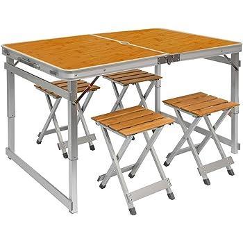 Tavolino da campeggio regolabile in altezza tavolo 4 sgabelli pieghevole formato valigia - Tavolo pieghevole a valigia ...