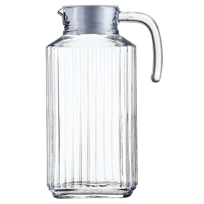 arcoroc quadro ridge jug with white plastic lid l  jar  - arcoroc quadro ridge jug with white plastic lid l  jar amazoncoukkitchen  home
