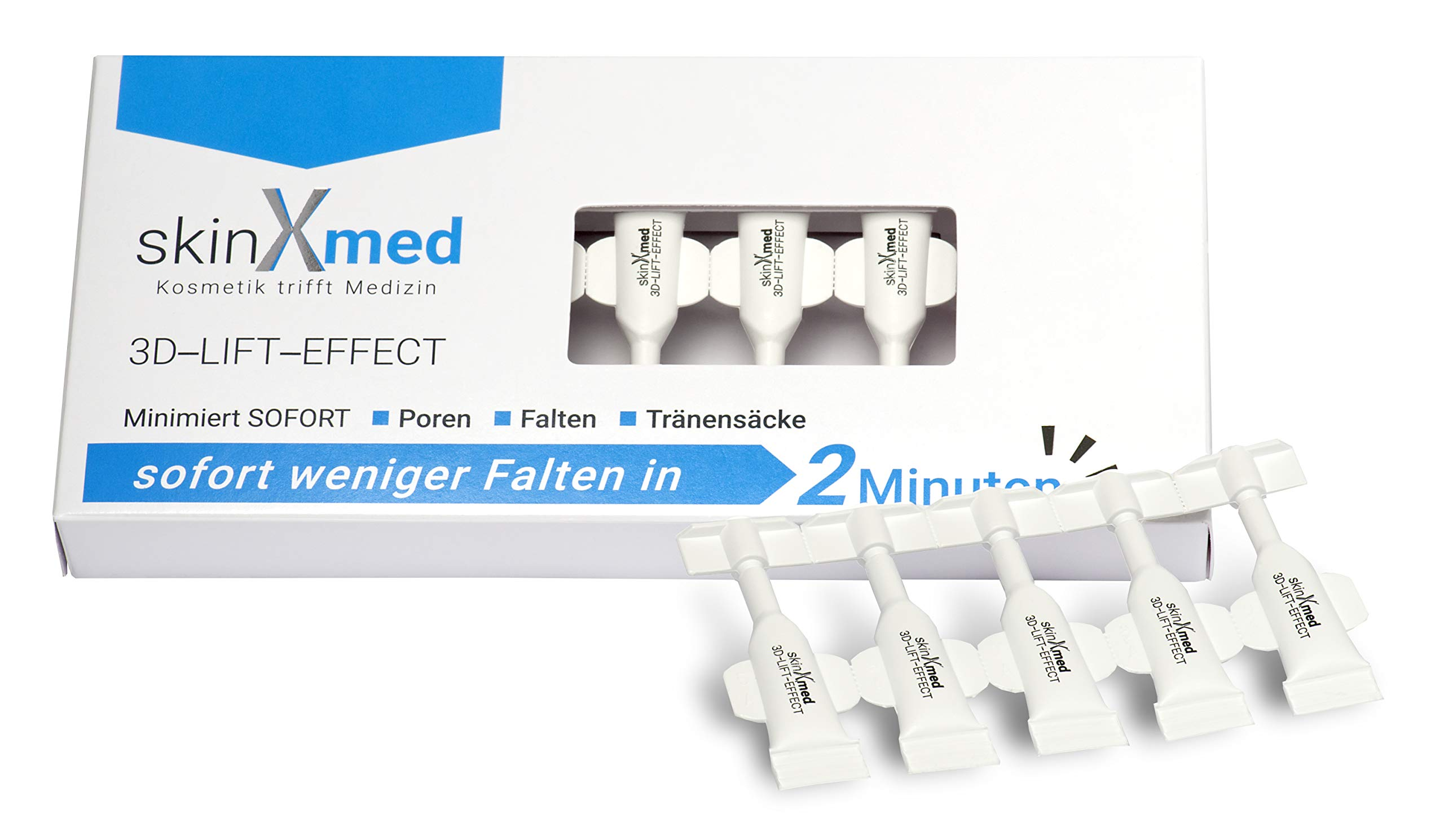 SkinXmed ampollas faciales efecto 3D Lifting inmediato | Rellenador intensivo anti-arrugas cara, ojos, cuello, escote | Crema acción flash 2 min | Suaviza poros | Pullulan, goma de acacia 10 monodosis
