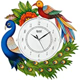 Divinecrafts Wood Peacocks Wall Clock Multi   Multicolor