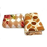 Homescape Fleece 100 TC Blanket (Beige & Brown_Standard)