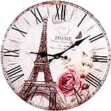 33,5x0,6 cm Vintage Paris Eiffelturm Wanduhr Stille Runde Holz Einfach zu lesen Uhren für Home Office School Dekoration