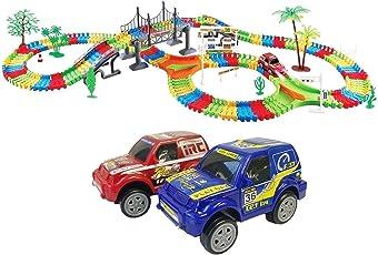 Akrobov Kids Fun Car Flexible Variable Track 257 Pcs LED Light Battery Operated Racing Game Set