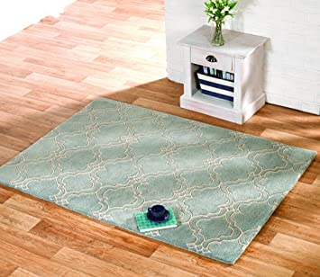 Thick Ultra Soft Hand Carved Duck Egg Blue Trelis Wool Living Room Rug 3 Sizes Available Athena Amazoncouk Kitchen Home