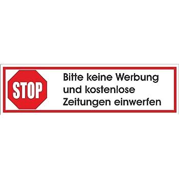 Keine Werbung 1 Roter Briefkastenaufkleber 105x35 Mm Keine