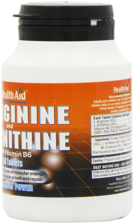 71ul%2BgDBZkL - HealthAid L-Arginine with L-Ornithine 300mg - 60 Tablets