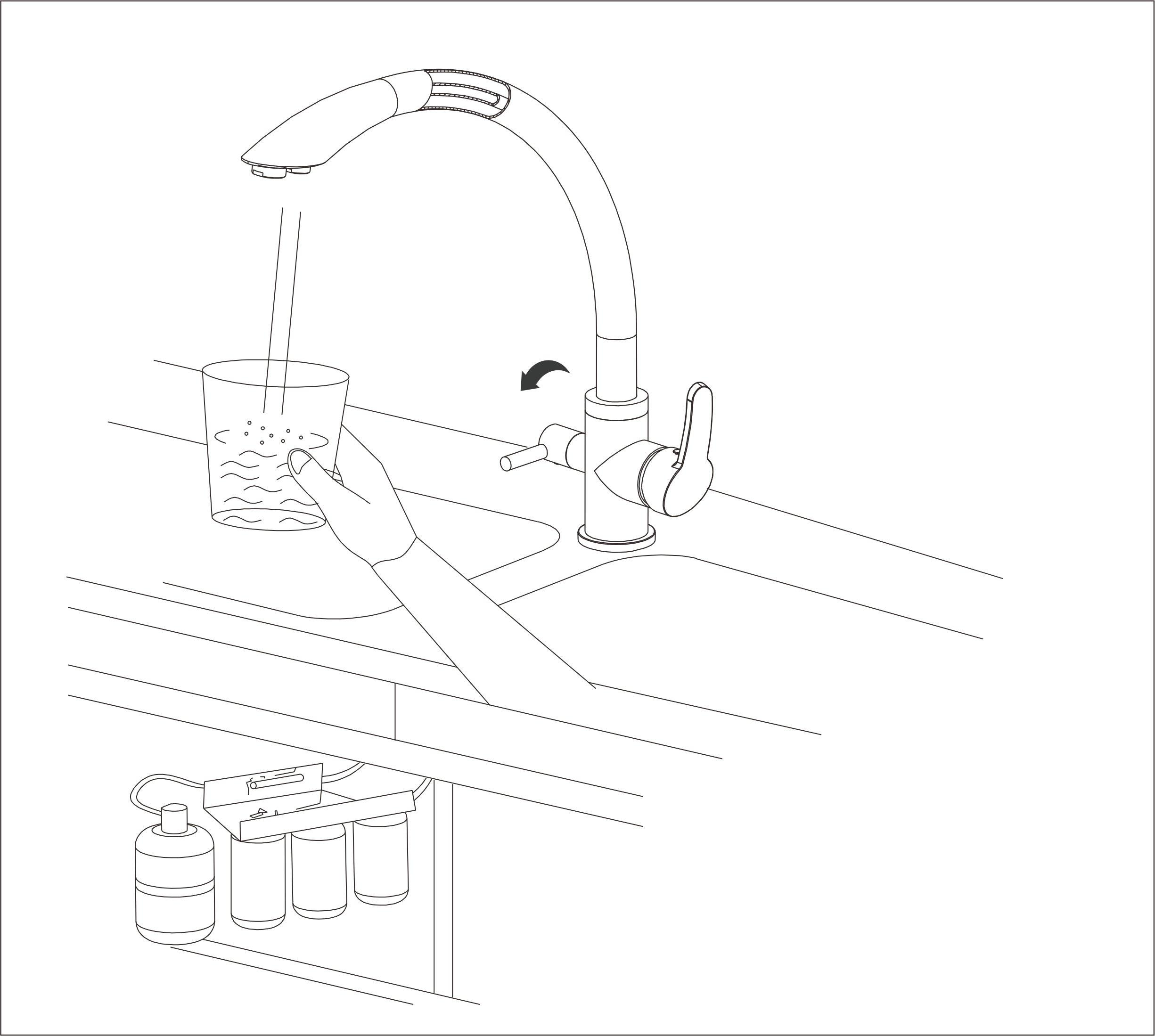 smardy DUO304 Grifo de Cocina 3 Vias, 360° Giratorio para osmosis inversa Agua Purificada (RO) Mangueras Conexión 3/8