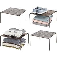 mDesign séparateur étagère pour garde-robe– organiseur d'armoire pratique en métal – aménageur de placard pour la…