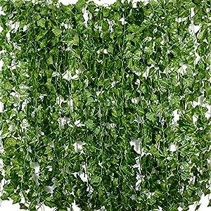 Plantas Hiedra Artificial (24pcsx2m) Hiedra Hojas de Vid Artificial Enredadera Guirnalda Decorativa para Decoración…