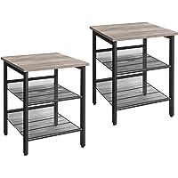 VASAGLE Tables d'appoint, Lot de 2, Tables de Chevet, Style Industriel, avec étagères grillagées réglable, pour Salon…