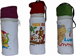 KRIDAY Newborn Baby Feeding Bottle Cover with Soft & Attractive Fancy Cartoon Set of 3 Colors & Designs