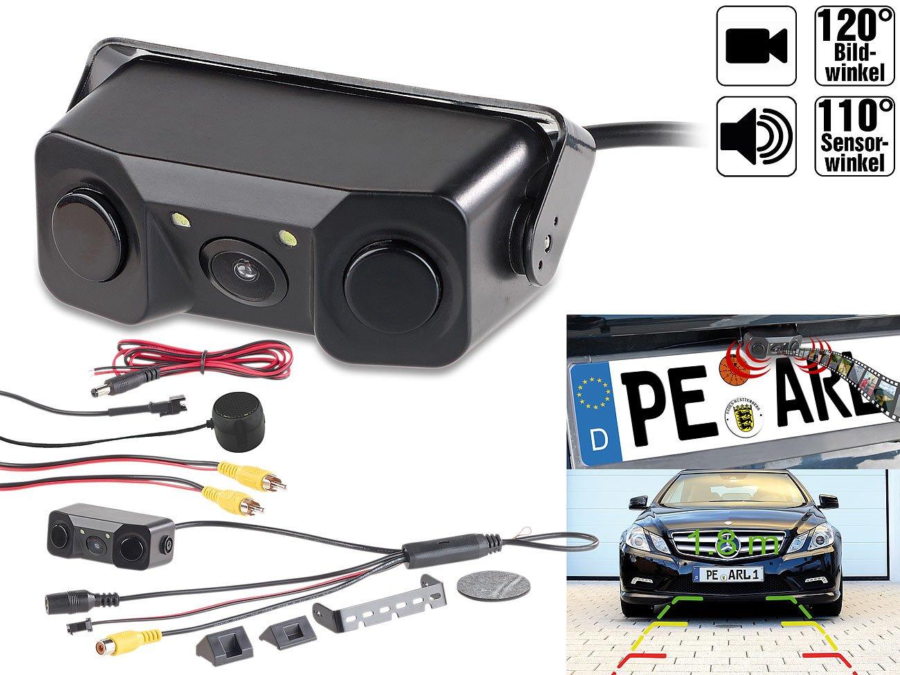 Lescars-Rckfahrtkamera-Farb-Rckfahrkamera-Einparkhilfe-m-Abstandswarner-LED-Ausleuchtung-Parksensor