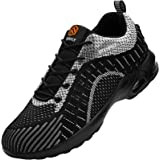 Fenlern Shock Absorbing Air Safety Trainers for Men Steel Toe Cap Trainers Comfort Sports Cushioning Shoes Lightweight Work S