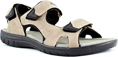 Australian Sandali Uomo Plantare Vera Pelle Regolabili Velcro Strappi