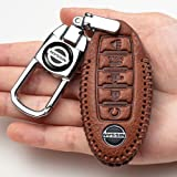 BBBB Car Key Cover Suit for Nissan Altima Maxima 5 Buttons Leather Keyless Entry Remote Control Transmiter Combo Key Fob Case
