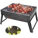 BestCool kolgrillning, bärbar BBQ grill rostfritt stål vikbar grill rökare grill grill skrivbord perfekt för camping picknick
