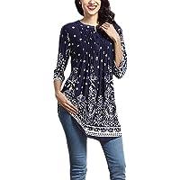 Aleumdr Donna T Shirt Camicetta con Bottoni Blusa Manica 3/4 Floreale Maglietta Maniche Lunghe Donna Elegante Tunica…