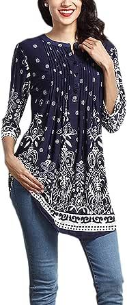 Aleumdr Donna T Shirt Camicetta con Bottoni Blusa Manica 3/4 Floreale Maglietta Maniche Lunghe Donna Elegante Tunica Donna