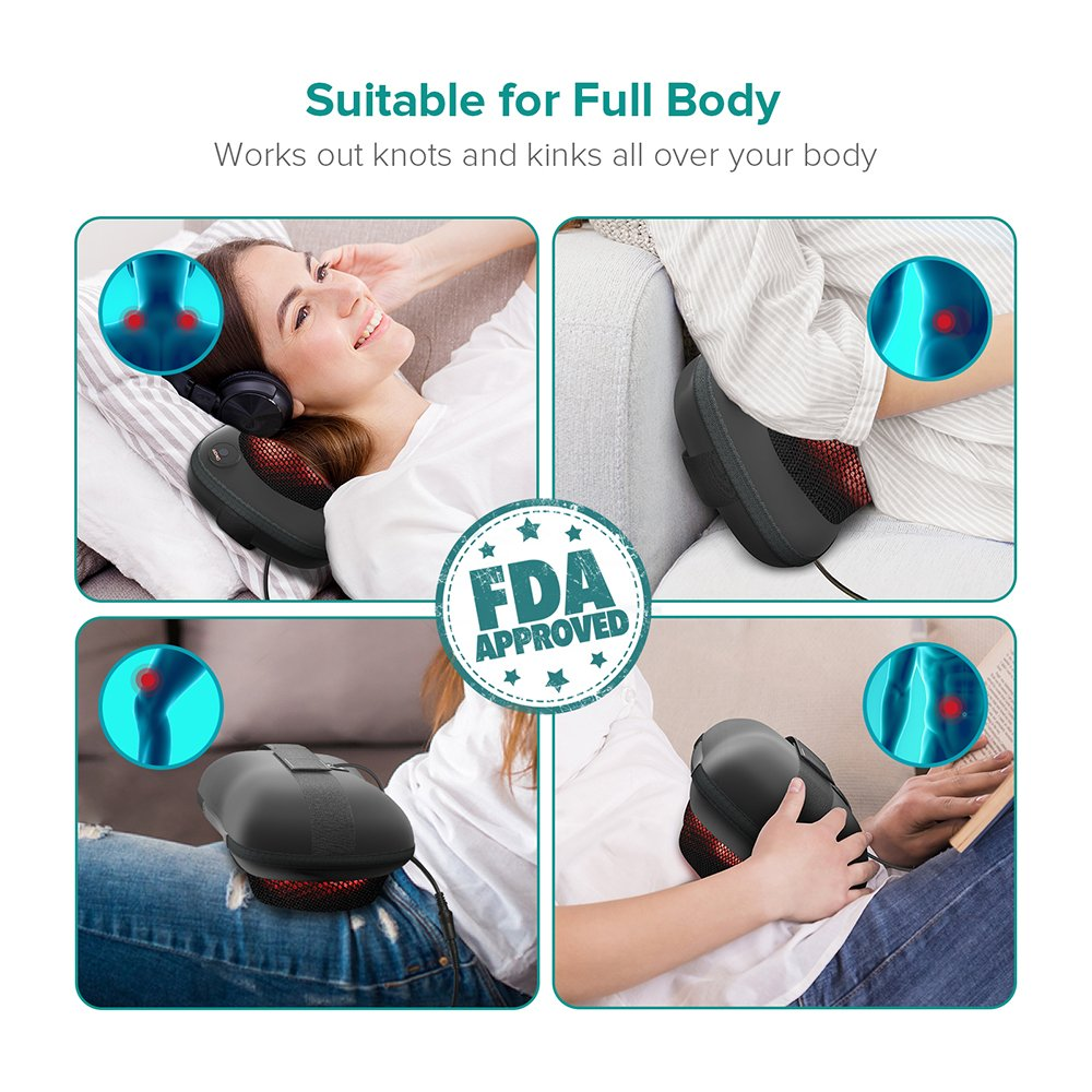 Sable Shiatsu Pillow Massager, Portable Neck and Back Massager with