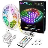 MYPLUS LED Streifen, RGB Led Strips 5M mit IR-Fernbedienung und Netzteil Led Beleuchtung Band für Zuhause, Schlafzimmer, TV,