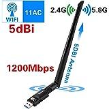 Elekele WLAN Stick 1200Mbit/s, 5dBi Antenne, Dualband(5.8G/866Mbps + 2.4G/300Mbps) Wireless USB WiFi Adapter, 802.11 ac/n/g/b/a USB WiFi Dongle für Windows 10/8.1/8/7/XP/Vista/MAC OS/Linux 2.6