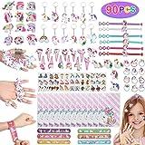 Anpro 90pcs Unicorn Party Bags Filler,Unicorn Pinatas Filler,Contains 9 Different Unicorn Goods(Hairpin,Slap Bracelets…