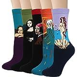 4/5 pares de calcetines de algodón para hombre para pintura artística, calcetines para invierno