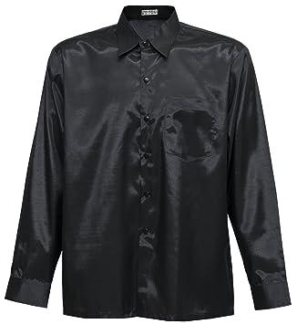Men's Shirt Long Sleeve Thai Silk Black (L): Amazon.co.uk: Kitchen ...