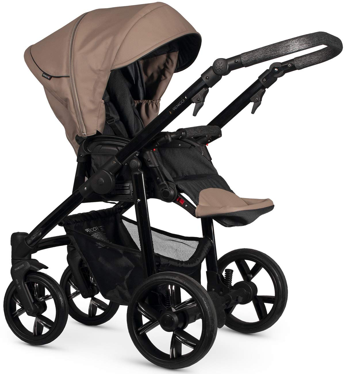 Venicci Valdi 2-in-1 Travel System - Cappuccino Venicci Carrycot: L 102cm W 61cm H 112 cm Age suitability: From birth to 6 months Seat unit: L 95cm W 61cm H 112cm Age suitability: From 7 to 36 months Chassis without wheels: L 82cm W 51cm H 28cm 2