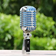 ACME Int Classic Vintage Style Dynamic Microphone for Professional Use with On/Off Switch (Silver)