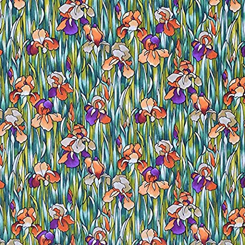 Quilting Patchwork Craft Fabric Cotton Lawn Green with Orange Flower Pattern by Storrs London Top Quality 100% Superfine Cotton British Design for Sewing, Quilting & Patchwork Projects-Lovely Quilt Print for Bedding Curtains Furnishing Clothing Width 58