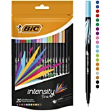 BIC Intensity Fine Felt Tip Pens - Pack of 20 - Assorted Vivid Colours - Fine Point (0.8 mm) in Convenient Doypack