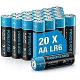 POWERADD Batterie Alcaline AA Confezione da 20 Pile Stilo AA da 1.5V, Telecomando per Mouse Giocattolo per Bambini e Altre Ba
