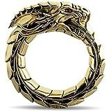 QKFON Anillo tallado con dragones, unisex, vintage, ajustable, diseño étnico, para hombres y mujeres, regalo