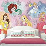 RoomMates Disney Princess Peel and Stick Wallpaper Mural | Removable | Girls Room Decor