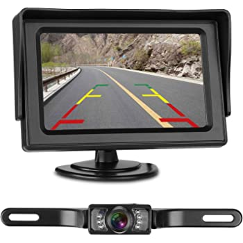 LeeKooLuu Backup Camera and Monitor Kit for Car/Vehicle/Truck Waterproof Night Vision License Plate rear view Camera wire Single power source Rear view/continuous view Optional 4.3 Display Grid Lines